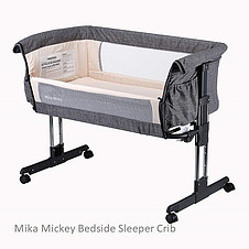 The Mika Bedside Sleeper Crib Grey