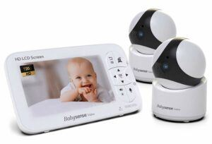 "The Best Baby Monitor With 2 Cameras-BabySense Baby Monitor with Two PTZ Security Cameras & Large 5"" Display"