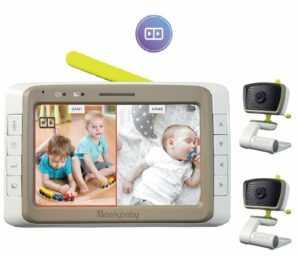 The Best Baby Monitor with 2 Cameras-Moonybaby SPLIT SCREEN & WIDE ANGLE BABY MONITOR ( 2 Cameras Pack)