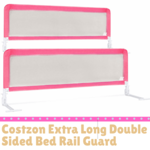 Bed Guard Rails for Children-Costzon Extra Long Double Sided Bed Rail Guard