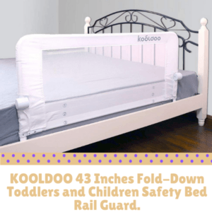 Bed Guard Rails for Children-KOOLDOO 43 Inches Fold-down Toddlers and Children Safety Bed Rail Guard