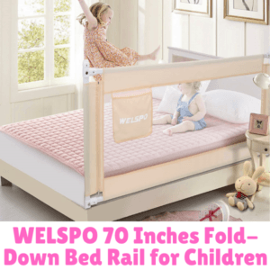 Bed Guard Rails for Children-WELSPO 70 Inches Fold-down Bed Rail for Children