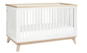 The Best Baby Cribs 2020-Babyletto Scoot 3-in-1 Convertible Crib with Toddler Bed Conversion Kit, White, Washed Natural