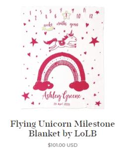 Personalized Newborn Baby Blankets-Flying Unicorn Milestone Blanket by LoLB