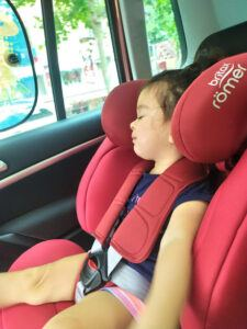 Britax Romer Car Seat Review - My Daughter sleeping on Evolva Car Seat