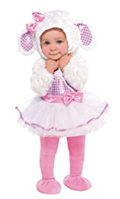 Funny Baby Halloween Costumes-Amscan Baby Little Lamb Halloween Costume for Infants, Includes a Dress, a Hood, Tights and Booties