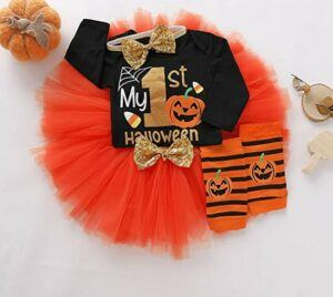 Funny Baby Halloween Costumes-Baby Girls Halloween Outfits My 1st Halloween Romper+ Tutu Dress+ Striated Leg Warmer+ Bunny Headband 4Pcs Outfit Set
