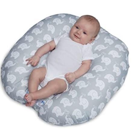 Top Rated Baby Floor Seats-Boppy Original Newborn Lounger, Elephant Love Gray