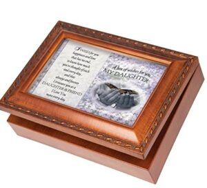 Mother And Daughter Gift Ideas-Cottage Garden Box of Wishes for the Daughter, Woodgrain Jewelry Music Box