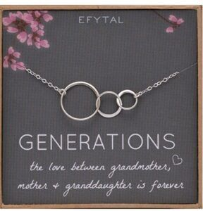 Mother And Daughter Gift Ideas-EFYTAL Generations Sterling Silver Necklace for Grandma and Mother Gifts