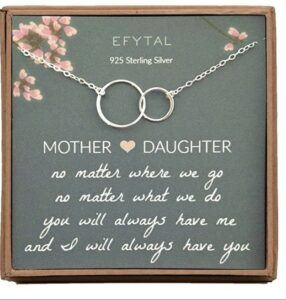 Mother And Daughter Gift Ideas-EFYTAL Gifts for Mom and Daughter, 2 Interlocking Sterling Silver Infinity Circles Necklace