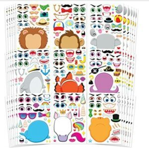 Halloween Arts And Crafts For Toddlers-JOYIN 36 PCS Make-a-face Sticker Sheets Make Your Own Animal Mix