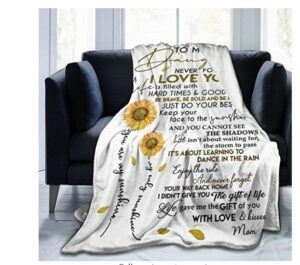 Mother And Daughter Gift Ideas-MADISON GRIFFITHS Sunflower Love Letter to My Daughter Ultra-Soft Fleece Bed Blanket