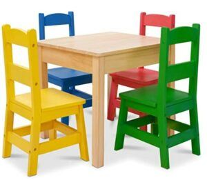 Halloween Arts And Crafts For Toddlers-Melissa & Doug Kids Furniture Wooden Table and 4 Chairs - Primary Colors