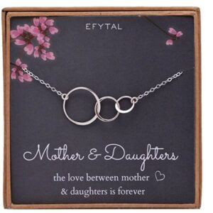 Mother And Daughter Gift Ideas-Mom 2 Daughters Necklace, Three Interlocking Infinity Triple Sterling Silver Circles