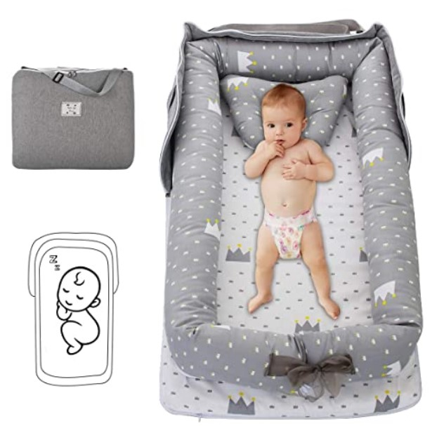 Top Rated Baby Floor Seats-Oenbopo Baby Lounger Cotton Breathable Baby Bassinet Portable Sleeping Baby Bed for Cuddling, Lounging, Co Sleeping, Napping and Travel