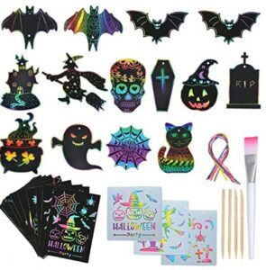 Halloween Arts And Crafts For Toddlers-SunnyMemory Halloween Scratch Paper Art Set for Kids