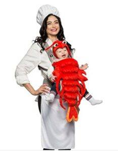 Funny Baby Halloween Costumes-Seeing Red Baby & Me - Chef & Lobster