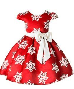 Christmas Dresses For Girls-2-9 Years Christmas Holiday Dress for Toddler Girls Snow Party Queen Dress Snowman Silk Christmas Flower Dress