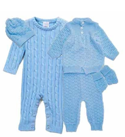 Cute Baby Shower Gift Basket Ideas-5 pc Knit Boxed Cardigan Blue Set
