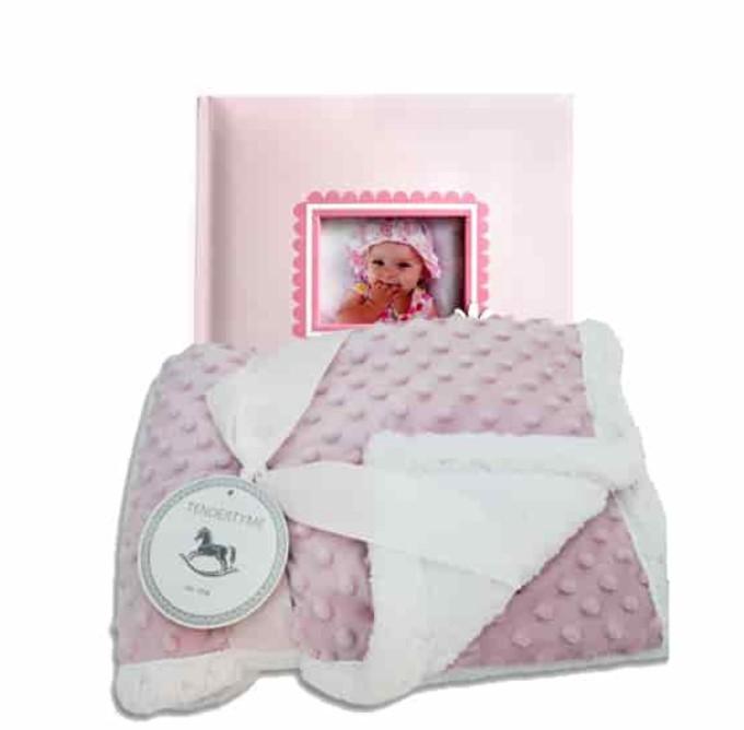 Cute Baby Shower Gift Basket Ideas-Baby Girl Album and Blanket Gift