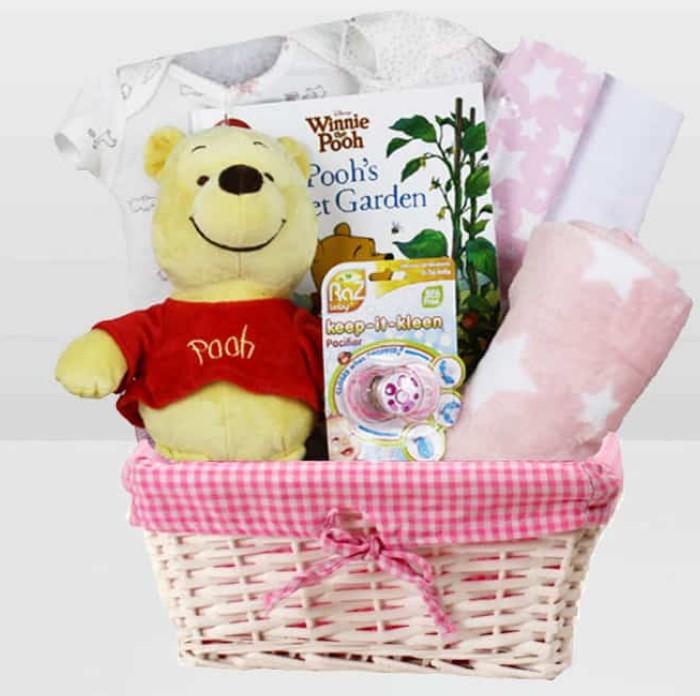 Cute Baby Shower Gift Basket Ideas-Baby Girl Winnie The Pooh