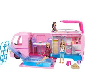 Best Christmas Toys For 2020-Barbie Camper Pops Out into Play Set with Pool!