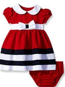 Christmas Dresses For Girls-Bonnie Baby Baby Girls' Peter Pan Collar Nautical Dress and Panty Set