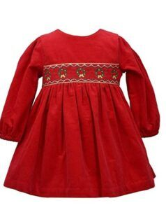 Christmas Dresses For Girls-Bonnie Jean Baby Girl's Holiday Christmas Dress - Red Smocked Corduroy for Baby and Toddler and Little Girls