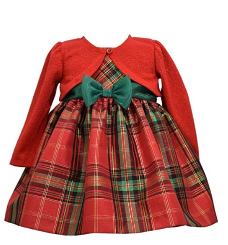 Christmas Dresses For Girls-Bonnie Jean Christmas Dress - Plaid with Red Cardigan for Baby, Toddler, Little and Big Girls