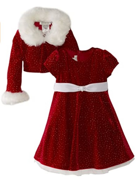 Christmas Dresses For Girls-Bonnie Jean - Girls Christmas Dress Velvet Sparkle Dress with Jacket
