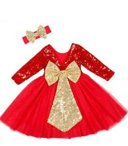 Christmas Dresses For Girls-Cilucu Flower Girl Dress Sequin Girls Long Sleeve Dress Tutu Party Chrismas New Year Dress