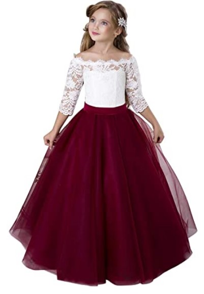 Christmas Dresses For Girls-Flower Girl Dress Long Sleeve Kids Lace Pageant Party Christmas Ball Gown Dresses