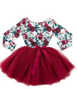 Christmas Dresses For Girls-Girls Christmas Dress - Long Sleeve Floral Christmas Dress - Ages 1-6