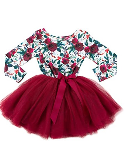 Christmas Dresses For Girls-Girls Christmas Dress - Long Sleeve Floral Christmas Dress - Ages 1-6