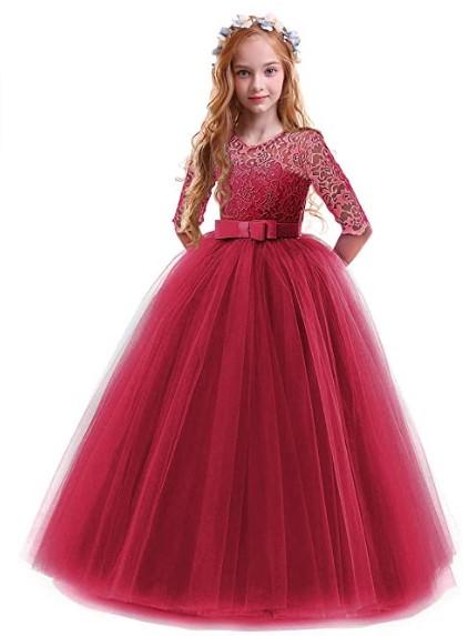 Christmas Dresses For Girls-Girls Flower Vintage Floral Lace