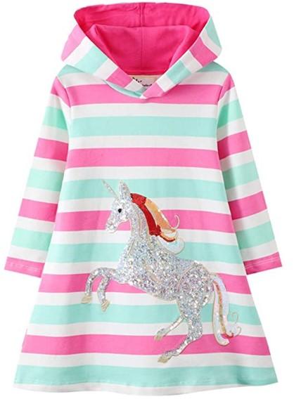 Christmas Dresses For Girls-Girls Hooded Dress Winter Warm Fleece Long Sleeve Cotton Casual Hood Kangaroo Pocket Sweatshirt Dress 2-12 Years