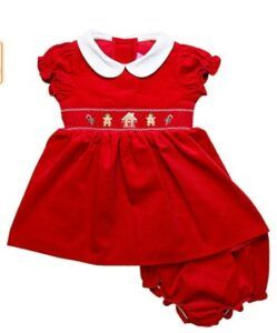 Christmas Dresses For Girls-Good Lad Infant Girls Red Smocked Corduroy Christmas Holiday Dress with Christmas Embroideries
