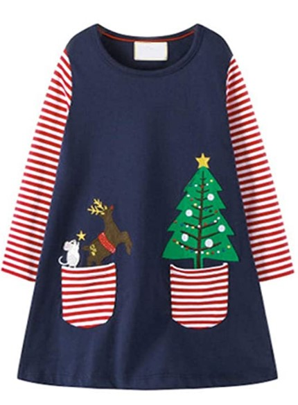 Christmas Dresses For Girls-HILEELANG Toddler Girl Casual Dress Stripe Long Sleeve Autumn Winter Cotton Basic Shirt Christmas Outfit Dress