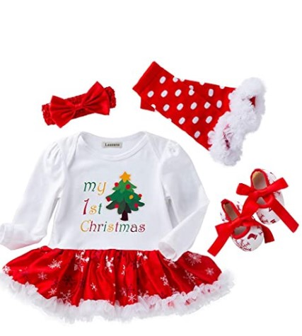 Christmas Dresses For Girls-Lausana Baby Girl Clothes, Romper, Tutu Skirt, Leg Warmers, Shoes, Headbands, Infant Girl Dress Outfits (0-24 Months)