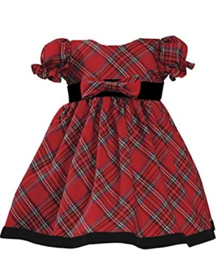 Christmas Dresses For Girls-Lito Girls Holiday Christmas Year's Plaid Dress