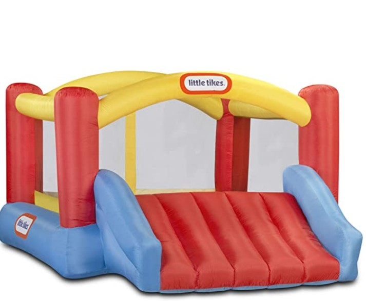 Best Christmas Toys For 2020-Little Tikes Inflatable Jump 'n Slide Bounce House with heavy duty blower, Multicolor