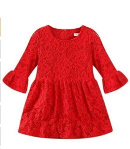 Christmas Dresses For Girls-Mud Kingdom Girls Lace Dress Eyelet Flare Sleeve