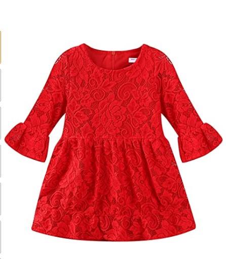 Christmas Dresses For Girls-Mud Kingdom Girls Lace Dress Eyelet Flare Sleeve