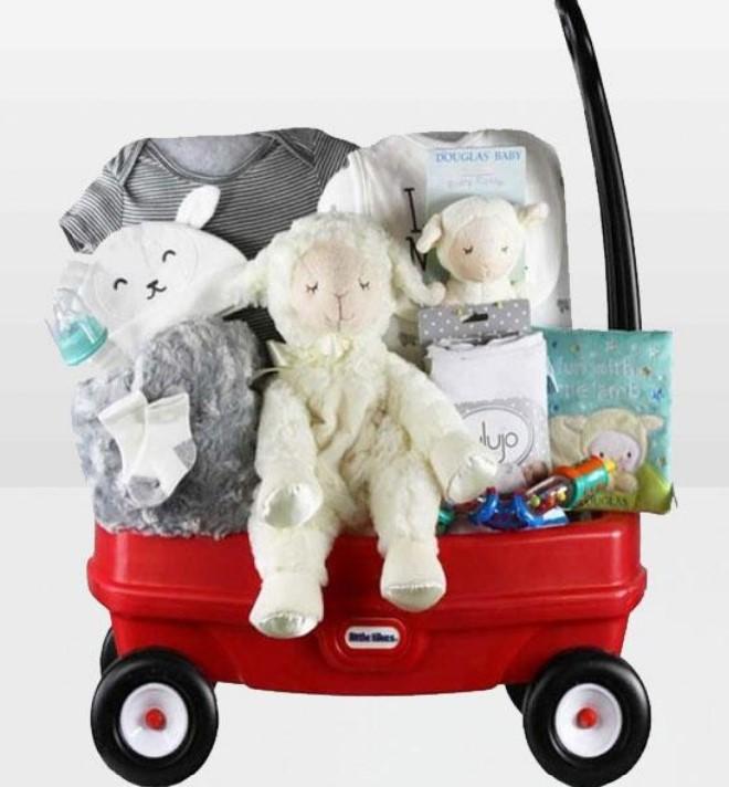 Cute Baby Shower Gift Basket Ideas-Neutral baby wagon