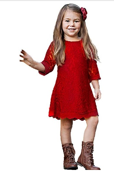 Christmas Dresses For Girls-Qmislg Girls Lace Flower Dresses Casual Crew Neck Floral A-Line Party Dress