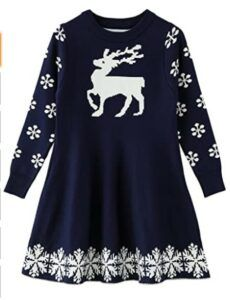 Christmas Dresses For Girls-SMILING PINKER Little Girls Christmas Dress Reindeer Snowflake Xmas Gifts Winter Knit Sweater Dresses