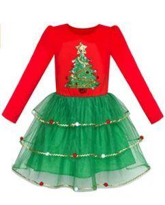 Christmas Dresses For Girls-Sunny Fashion Girls Dress Christmas Santa Hat Long Sleeve Party Dress Size 6-12