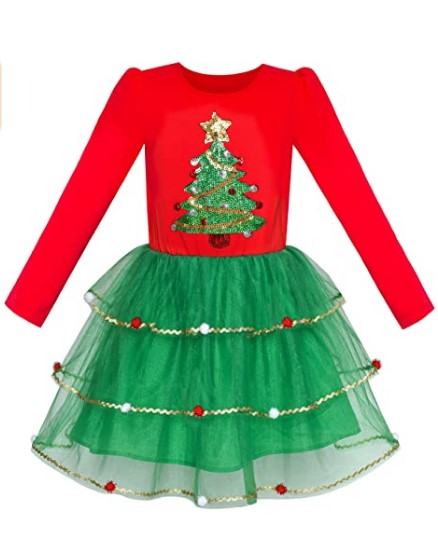 Christmas Dresses For Girls-Sunny Fashion Girls Dress Christmas Santa Hat Long Sleeve Party Dress Size 6-12