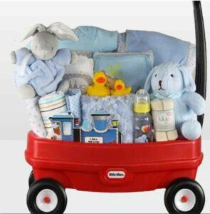 Cute Baby Shower Gift Basket Ideas-Towing Boy Wagon